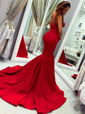 Sexy sweetheart mermaid Red prom dress with train_2