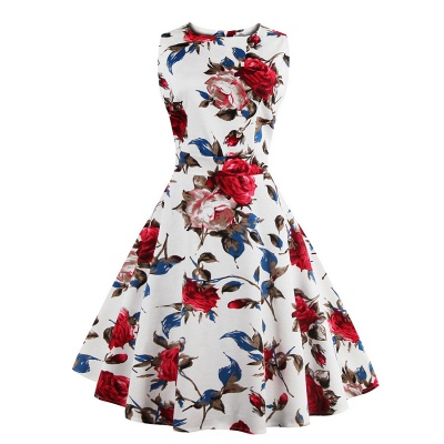Glorious Jewel Sleeveless A-line Fashion Belted Dresses | Floral Knee-Length Women's Dress_3