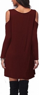 Cut-out Shoulders Long Sleeves Short Casual Dresses_2