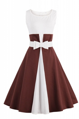 1950S Belted Brown and White Patchwork Retro Dress