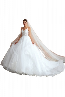 A Line Spaghettis Straps Tulle Wedding Dresses Lace Up Back_1