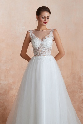 A Line Sleeveless Tulle Lace Jewel Bridal Dresses Button Back_6