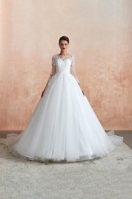 Hot Ball Gown Jewel 3/4 Sleeves Lace Wedding Dresses Button Back_5