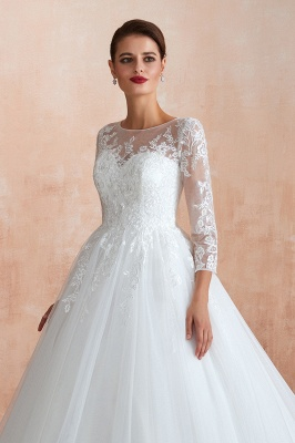 Hot Ball Gown Jewel 3/4 Sleeves Lace Wedding Dresses Button Back_11
