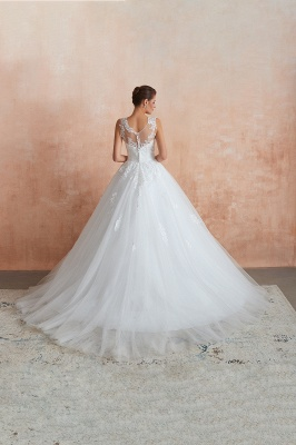 Hot Lace Ball Gown Wedding Dresses Jewel Sleeveless Button_8
