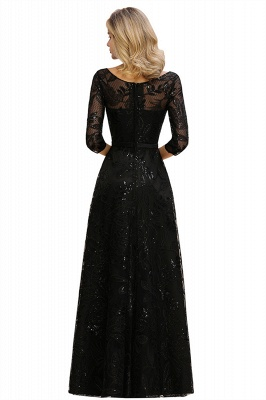 Scoop neck Long Sleeves Black Prom Dresses with Sparkly Floral Designs_15