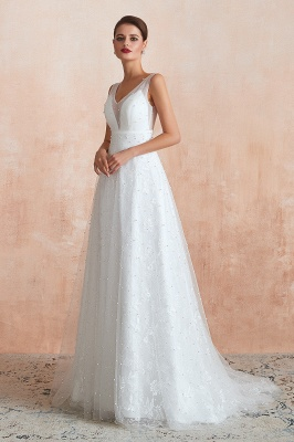 A Line Floor Length Tulle V Neck Pearls Bridal Dresses_4