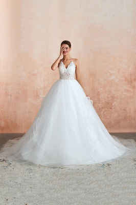 Sexy Ball Gowns Lace Tulle Backless Halter Wedding Gowns_4