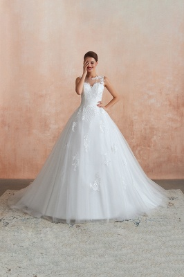 Hot Lace Ball Gown Wedding Dresses Jewel Sleeveless Button_3