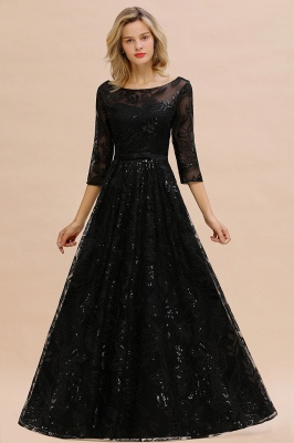 Scoop neck Long Sleeves Black Prom Dresses with Sparkly Floral Designs_5