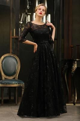 Scoop neck Long Sleeves Black Prom Dresses with Sparkly Floral Designs_9