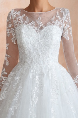 Hot Ball Gown Jewel 3/4 Sleeves Lace Wedding Dresses Button Back_9