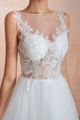 A Line Sleeveless Tulle Lace Jewel Bridal Dresses Button Back_9