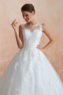 Hot Lace Ball Gown Wedding Dresses Jewel Sleeveless Button_10