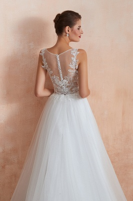 A Line Sleeveless Tulle Lace Jewel Bridal Dresses Button Back_11