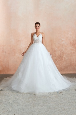 Sexy Ball Gowns Lace Tulle Backless Halter Wedding Gowns_12