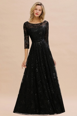 Scoop neck Long Sleeves Black Prom Dresses with Sparkly Floral Designs_7