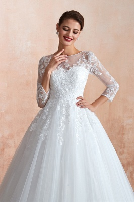 Hot Ball Gown Jewel 3/4 Sleeves Lace Wedding Dresses Button Back_6