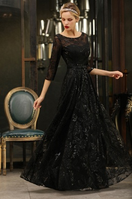 Scoop neck Long Sleeves Black Prom Dresses with Sparkly Floral Designs_8