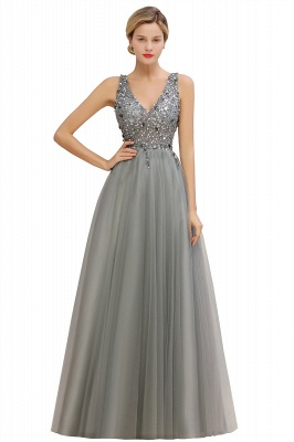 Abina | Sexy V-neck Sparkly Beaded Low Back Prom Dress with Gemstones_4