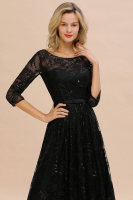 Scoop neck Long Sleeves Black Prom Dresses with Sparkly Floral Designs_3