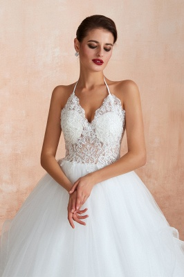 Sexy Ball Gowns Lace Tulle Backless Halter Wedding Gowns_6