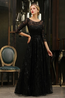 Scoop neck Long Sleeves Black Prom Dresses with Sparkly Floral Designs_16