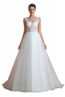 A Line Sleeveless Tulle Lace Jewel Bridal Dresses Button Back_2