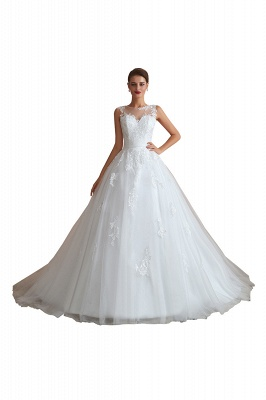 Hot Lace Ball Gown Wedding Dresses Jewel Sleeveless Button_1