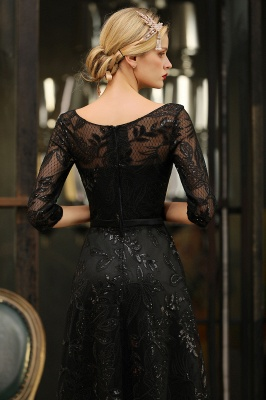 Scoop neck Long Sleeves Black Prom Dresses with Sparkly Floral Designs_10