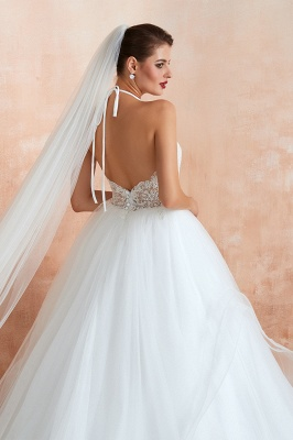 Sexy Ball Gowns Lace Tulle Backless Halter Wedding Gowns_11