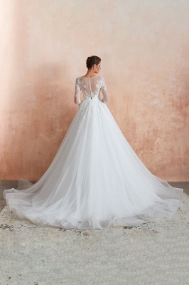 Hot Ball Gown Jewel 3/4 Sleeves Lace Wedding Dresses Button Back_12