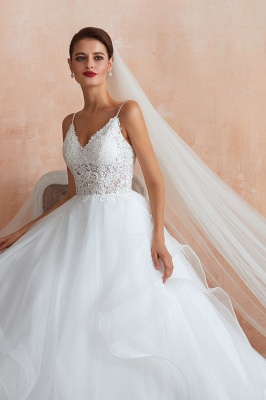 A Line Spaghettis Straps Tulle Wedding Dresses Lace Up Back_9