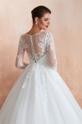 Hot Ball Gown Jewel 3/4 Sleeves Lace Wedding Dresses Button Back_8