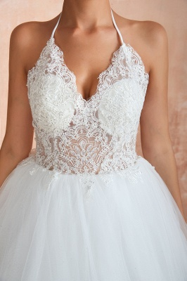 Sexy Ball Gowns Lace Tulle Backless Halter Wedding Gowns_9
