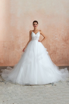 A Line Spaghettis Straps Tulle Wedding Dresses Lace Up Back_4