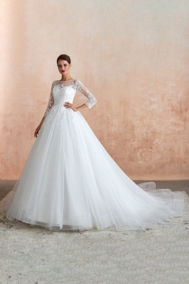 Hot Ball Gown Jewel 3/4 Sleeves Lace Wedding Dresses Button Back_10