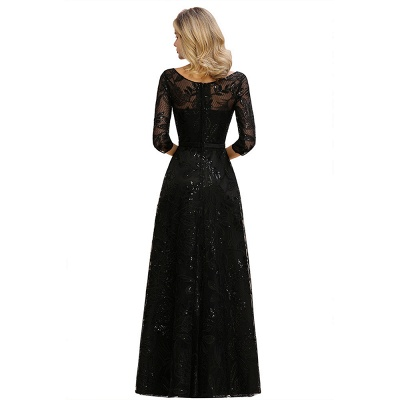 Scoop neck Long Sleeves Black Prom Dresses with Sparkly Floral Designs_13