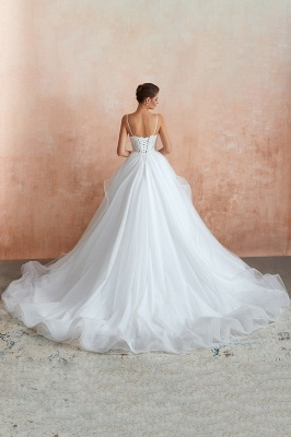 A Line Spaghettis Straps Tulle Wedding Dresses Lace Up Back_10