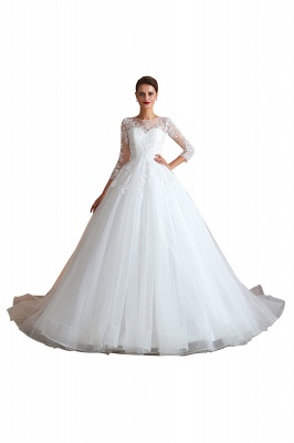 Hot Ball Gown Jewel 3/4 Sleeves Lace Wedding Dresses Button Back_1