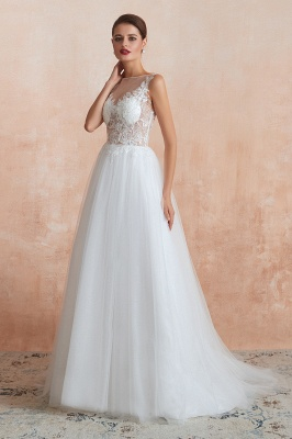 A Line Sleeveless Tulle Lace Jewel Bridal Dresses Button Back_4