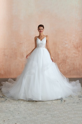 A Line Spaghettis Straps Tulle Wedding Dresses Lace Up Back_5