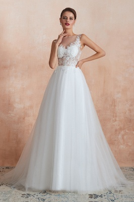 A Line Sleeveless Tulle Lace Jewel Bridal Dresses Button Back_3