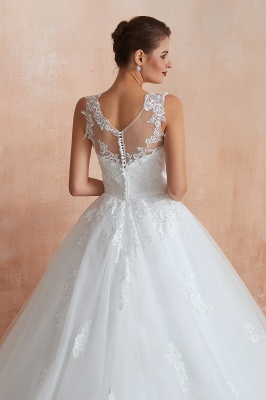 Hot Lace Ball Gown Wedding Dresses Jewel Sleeveless Button_9