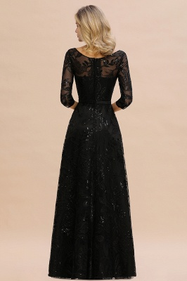 Scoop neck Long Sleeves Black Prom Dresses with Sparkly Floral Designs_4