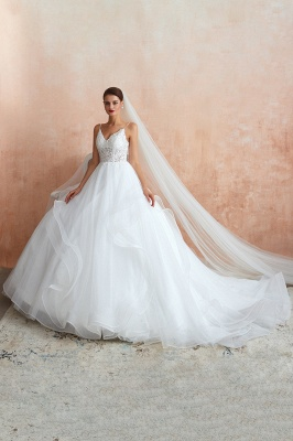 A Line Spaghettis Straps Tulle Wedding Dresses Lace Up Back_2