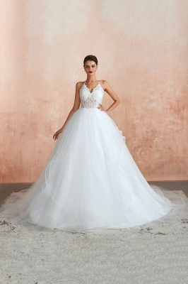 Sexy Ball Gowns Lace Tulle Backless Halter Wedding Gowns_2