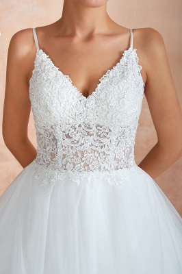 A Line Spaghettis Straps Tulle Wedding Dresses Lace Up Back_11