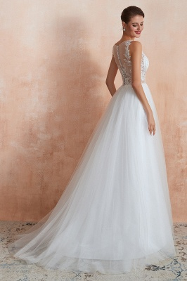 A Line Sleeveless Tulle Lace Jewel Bridal Dresses Button Back_5