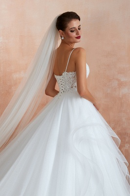 A Line Spaghettis Straps Tulle Wedding Dresses Lace Up Back_8